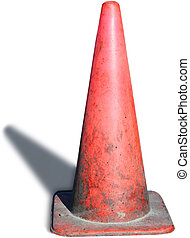 Traffic cone 1 - An old, gritty traffic cone, isolated, with...