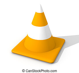 Traffic Cone - 3D rendered Illustration. Isolated on white....