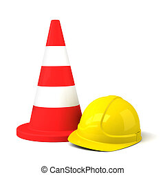 Traffic Cone and Hard Hat Icon Isolated on White Background