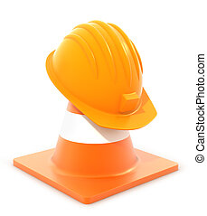 traffic cone and hardhat on white background