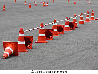 Traffic cone - Background with traffic cone on road track