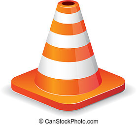 Glossy traffic cone icon isolated on white for design