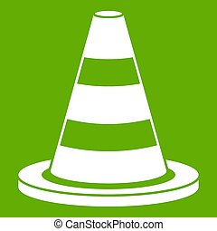 Traffic cone icon green - Traffic cone icon white isolated ...
