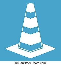 Traffic cone icon white