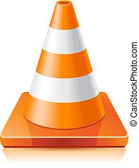 Traffic cone - Vector illustration - traffic cone on a white...
