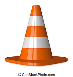 Traffic cone with orange and white stripes isolated on white, front view