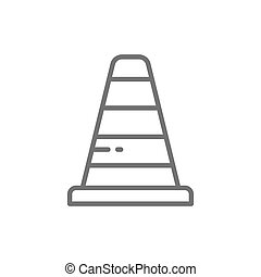 Traffic cone line icon. Isolated on white background