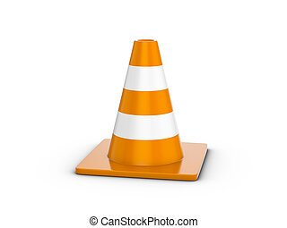 Traffic cone on a white background. 3d illustration.