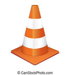 Traffic cone - Orange highway traffic cone with white...