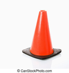 Traffic cone. - Orange traffic cone.