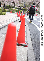 Traffic cone used in road.