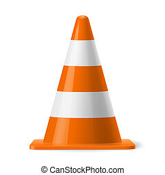 Traffic cone - White and orange road cone. Sign used to...