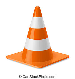 Traffic cone - White and orange traffic pylon. Safety sign...