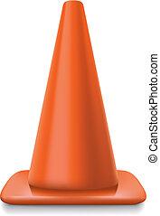 traffic conerealistic striped traffic cone illustration on white background