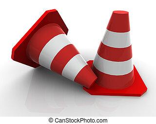 Traffic cones. 3d