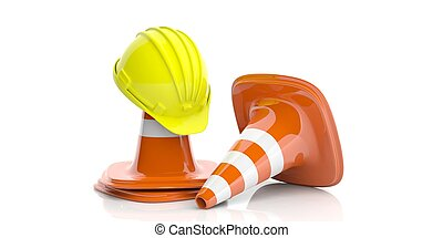 Traffic cones and hard hat on white background. 3d illustration