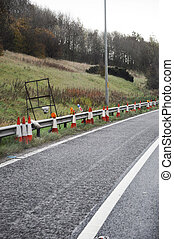 Traffic Cones at the side of the road