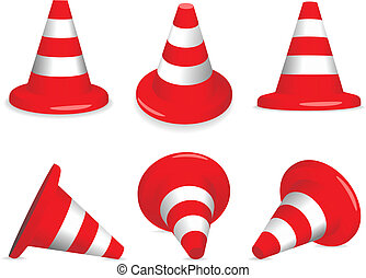 Traffic-cones - Set of red and white standing and fallen...