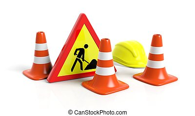 Traffic cones, helmet and warning sign isolated on white ...