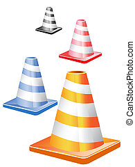 traffic cones in a row - 4 different color traffic cones in...