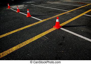 Traffic Cones on Asphalt