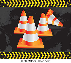 traffic cones on grunge background with signals, vector ...