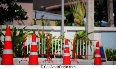 Traffic cones on road. Video shift motion. HD. 1920x1080 -...