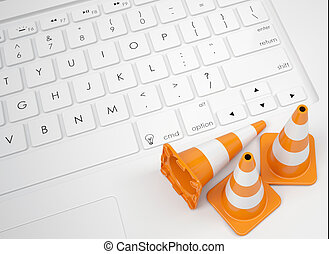 Traffic cones on the keyboard