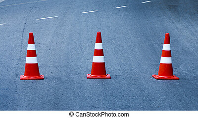 Traffic cones on the road