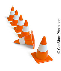Traffic cones - Row of orange plastic traffic cones isolated...