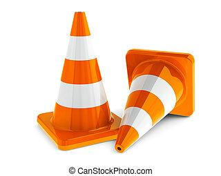 Traffic cones - Orange traffic cones on a white table...