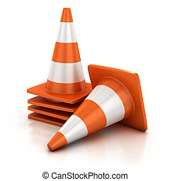 traffic cones   - traffic cones 3d illustration
