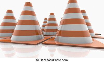 Traffic cones with orange stripes