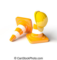 Traffic cones with work helmet isolated on the white.