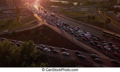 Traffic congestion during rush hour, traffic jams, traffic congestion during sunset