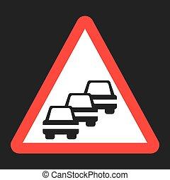 Traffic Congestion sign flat icon