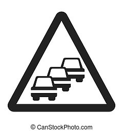 Traffic Congestion sign line icon