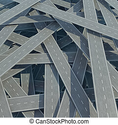 Traffic congestion, tangled road, top view. 3d illustration...