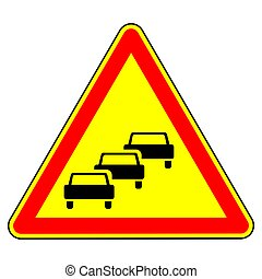 Traffic congestion. Temporary warning sign. Traffic regulations and road safety. Object on a white background. Vector illustration.