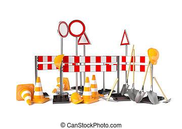 Traffic construction symbols isolated on the white