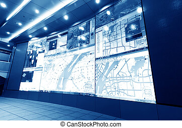 Traffic Control Center - Urban traffic command center on the...
