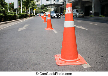 Traffic control cones at side street to prevent car parking