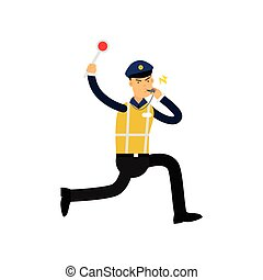 Traffic control officer running, whistling and showing stop gesture by handheld police signal