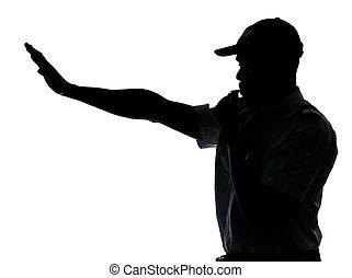 Traffic cop making stop gesture