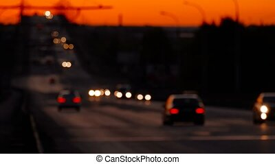 Traffic Defocused in Nighttime On Freeway