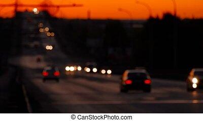 Traffic Defocused in Nighttime On Freeway