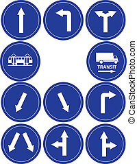 traffic direction signs, tram and transit sign vector...