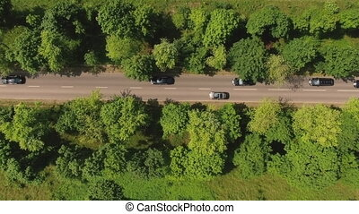 Traffic Driving On Road In Summer. Motorway road with...