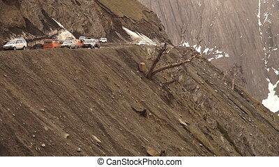 Traffic flow along dangerous Zoji la, Ladakh - Medium...