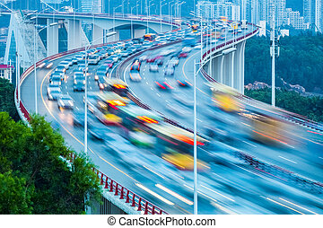 traffic flow on bridge